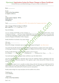 application letter for change of name in share certificate