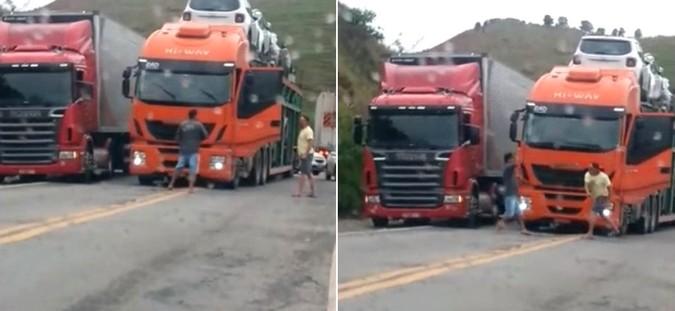 VÍDEO: Caminhoneiros protagonizam duelo de facas e fecham trânsito em briga na BR-381