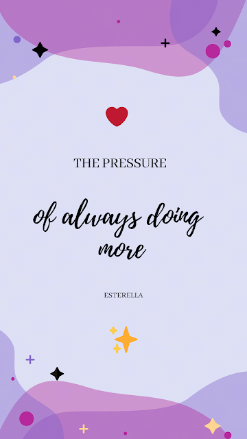 the pressure of always doing more - lilac graphic with sparkles