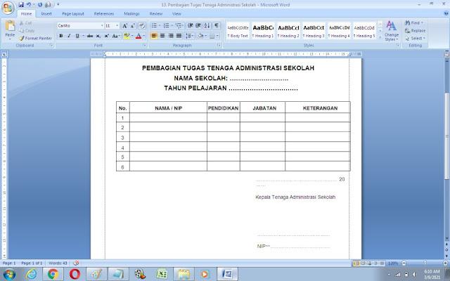 Contoh Format Pembagian Tugas Tenaga Administrasi Sekolah
