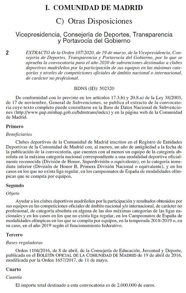 Subvenciones deportivas Comunidad de Madrid