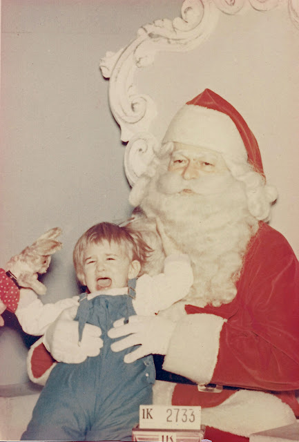 Me and Santa, off to a rocky start. December 1961, probably at a department store in NJ. Collection of E. Ackermann, 2017.