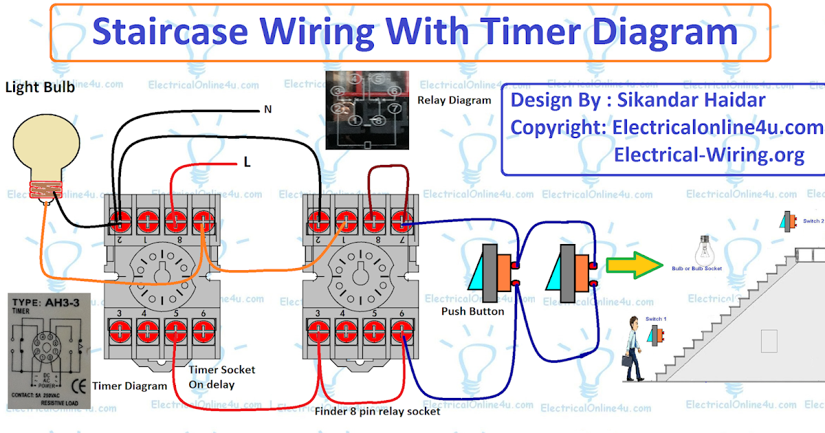 Staircase Timer Wiring Diagram  Using On Delay Timer And