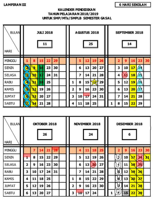 Kalender Pendidikan 2018/ 2019 Jawa Tengah Semester Ganjil untuk SMP/MTs/SMPLB