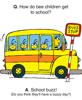 Bee children in a school buzz (bus)