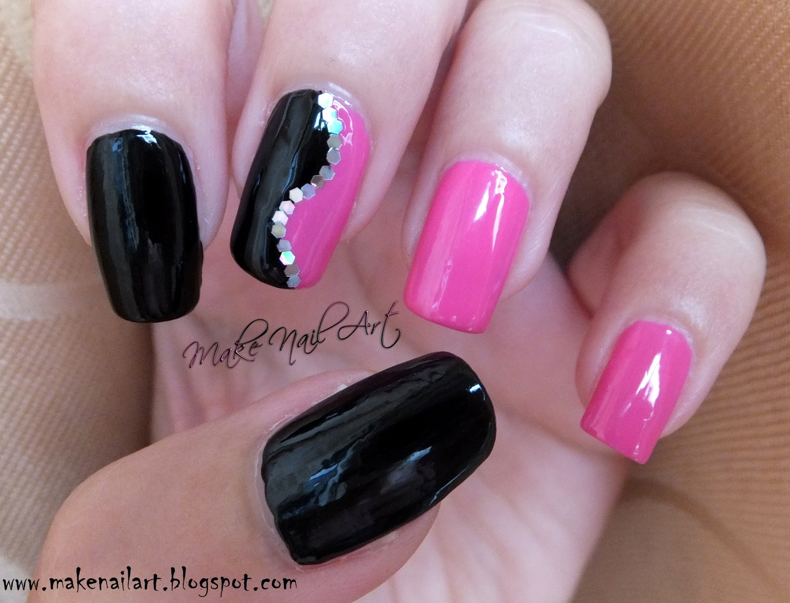 Make Nail Art: Easy Black And Pink Nail Design Nail Art ...