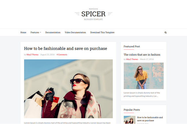 Spicer – Responsive Simple Blogger Template