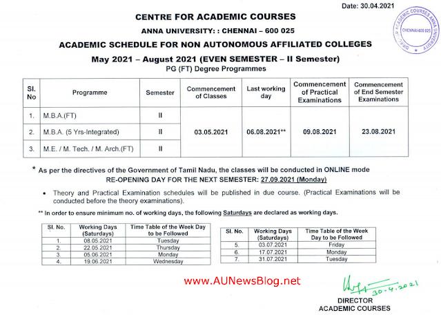 Anna University PG Second Semester Academic Schedule 2021