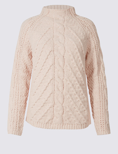 blush cable knit jumper