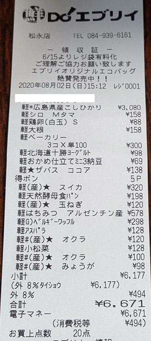 鮮DO!エブリイ 松永店 2020/8/2 のレシート