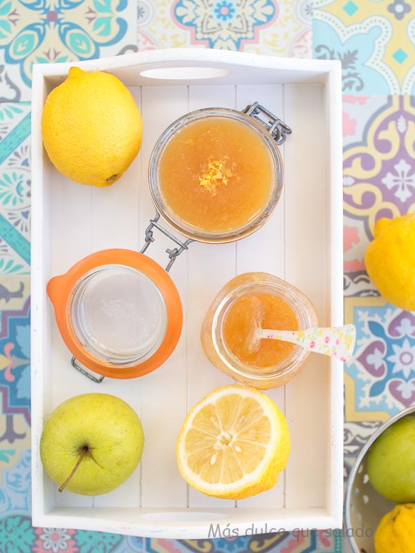 Mermelada de limón y manzana con miel