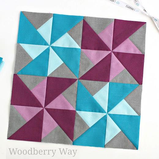 Cirrus Solids Quilt Block designed by Allison Jensen of Woodberry Way