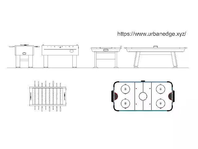 Table football and air hockey cad blocks plan and elevation download