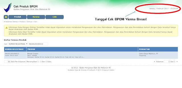 Nomor registrasi cek keamanan BPOM Vienna Breast