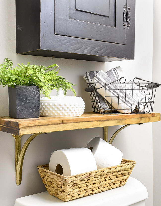 Styled bathroom shelves