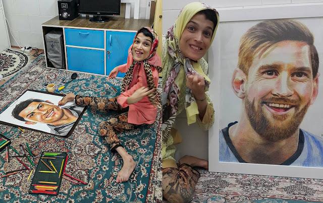 Artista Iraní pinta a Messi y a Ronaldo con los pies