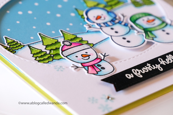 Sunny Studio Stamps: Feeling Frosty Scenic Route Stitched Oval Dies Winter Themed Snowman Card by Wanda Guess