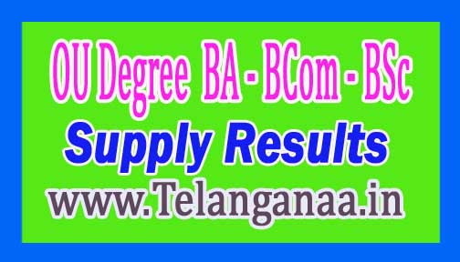 OU Degree (BA / BCom / BSc) I II III Year Supply Results Oct / Nov 2016
