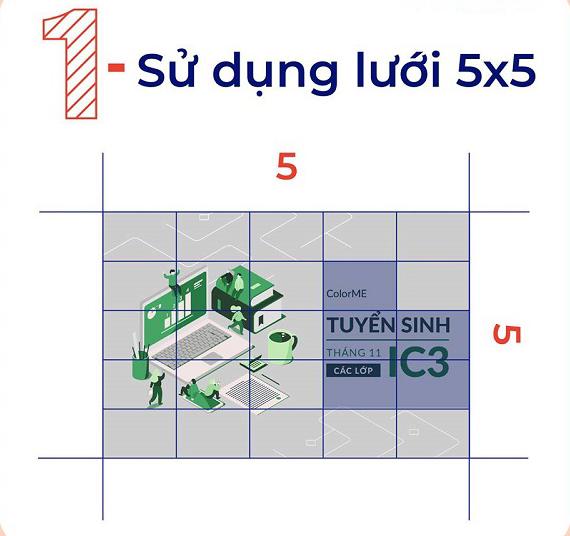 Phân chia hình ảnh thành dạng ô lưới 5x5