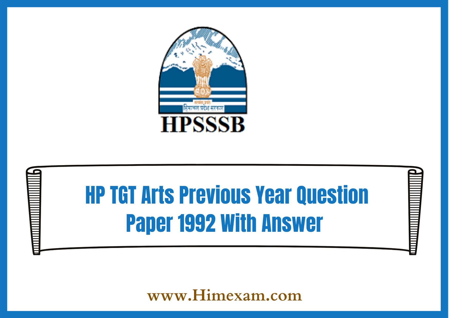 HP TGT Arts Previous Year Question Paper 1992 With Answer