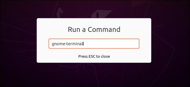 تشغيل أمر لفتح محطة في GNOME's Run a Command حوار.