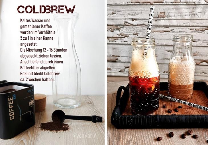 Rezept für Cold Brew kaffee mit zwei Fotos von Kaffee