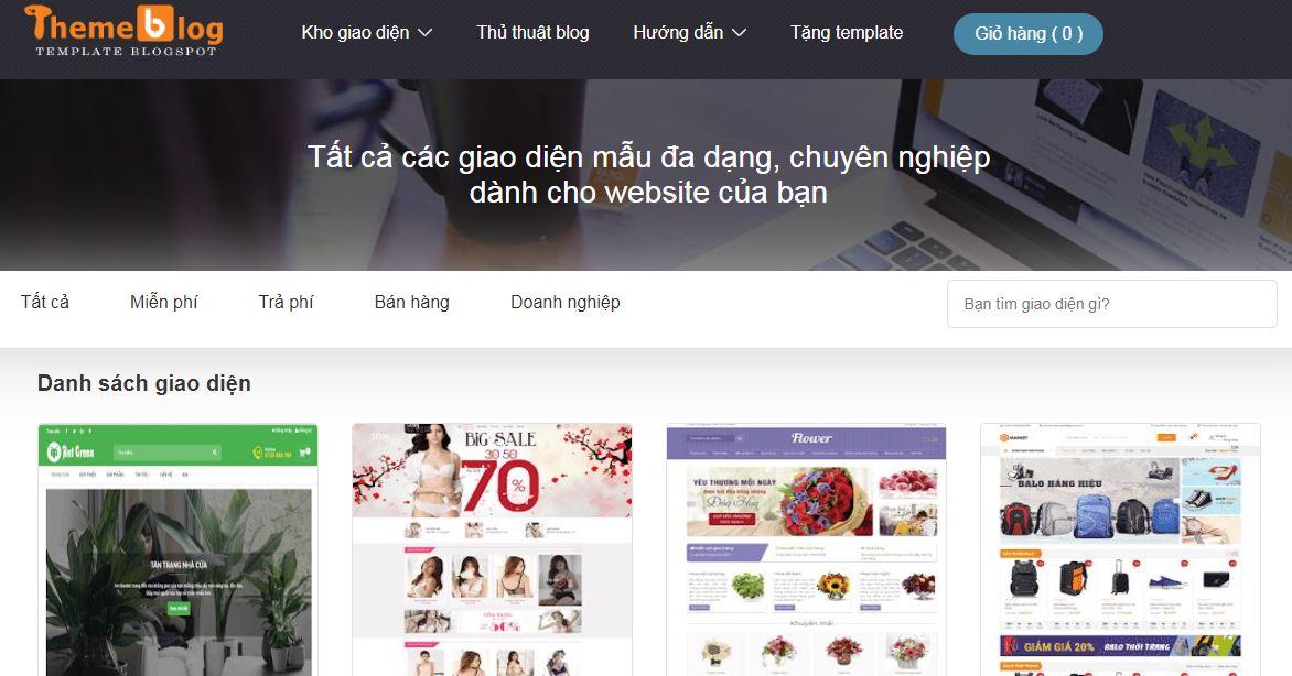 Trang bán theme blogger bán hàng đẹp chuẩn seo của Hòa Trần