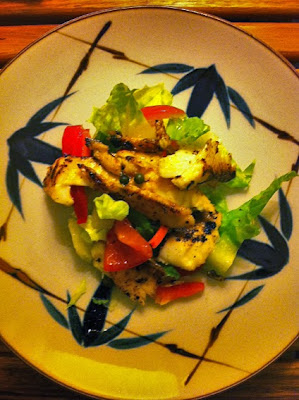 small plate of tilapia salad