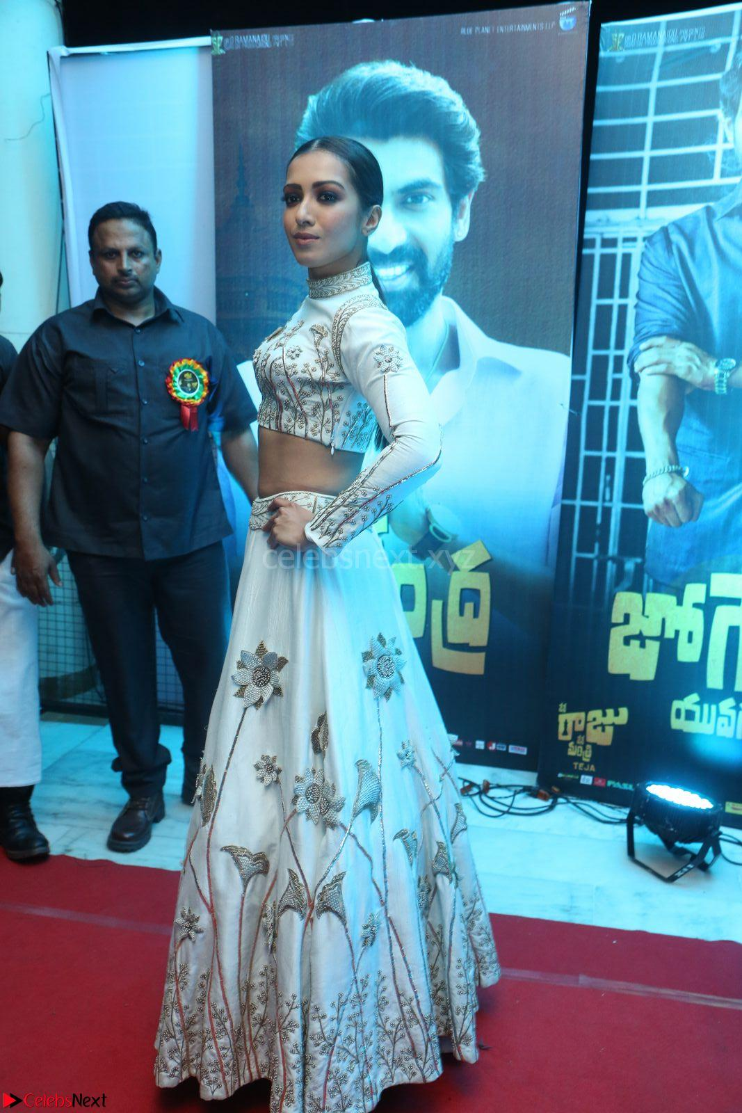 Catherine Tresa in Beautiful emroidery Crop Top Choli and Ghagra at Santosham awards 2017 curtain raiser press meet 02.08.2017