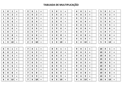 Blog Professor Zezinho Tabuada Para Imprimir Multiplicacao