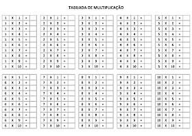 Tabuada para Imprimir - Tabuada Multiplicação para completar