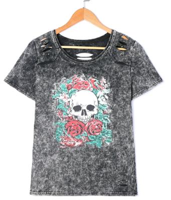 majica kratki rukavi, majica za ljeto, jesen, odjeća, dresslily, iskustvo, kostur, punk, kul, cool, stil, ruže, rock, siva majica, grunge, gotik, jeftine majice, jeftin online shop, poručivanje, naručivanje