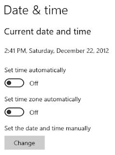 Pengaturan Date/Time untuk Your Clock is Behind / Ahead
