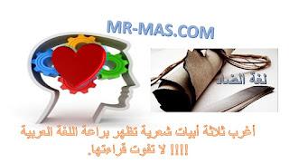 صورة أغرب ثلاثة أبيات شعرية تظهر براعة اللغة العربية !!!! لا تفوت قراءتها.