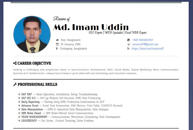 CV Resume In HTML
