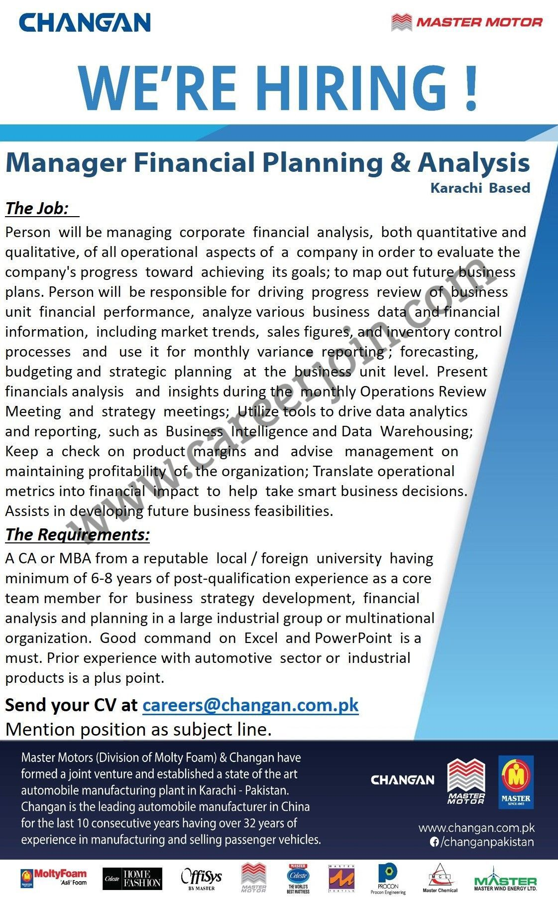 Changan Pakistan Jobs 2021 in Pakistan - Manager Financial Planning & Analysis Jobs 2021 - Online Apply :- careers@changan.com.pk