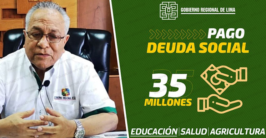 Hoy inician pago de deuda social a sectores educación, salud y agricultura en la región Lima [CRONOGRAMA]