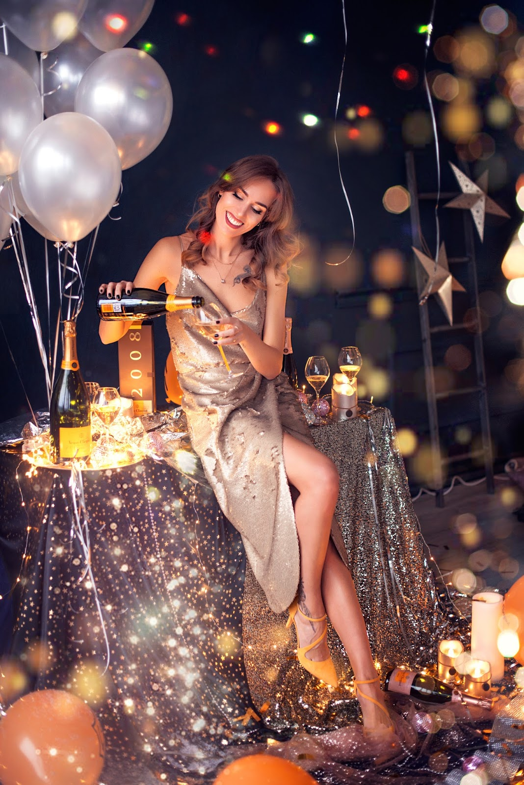 veuve clicquot champagne balloons confetti glitter party photography