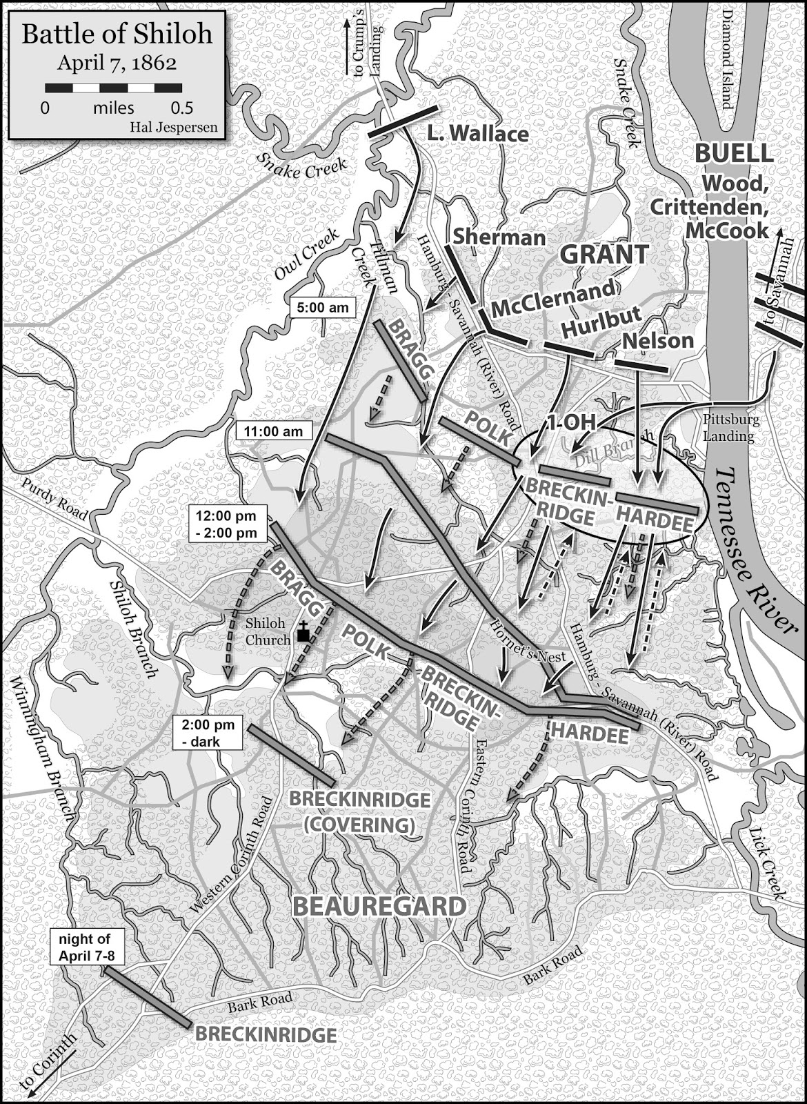 map of shiloh that was used in my book bull run to atlanta courtesy of hal jespersen