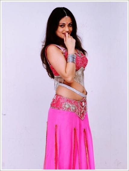 Exotic Glamorous Sneha ullal navel show ethnic pink lengha choli