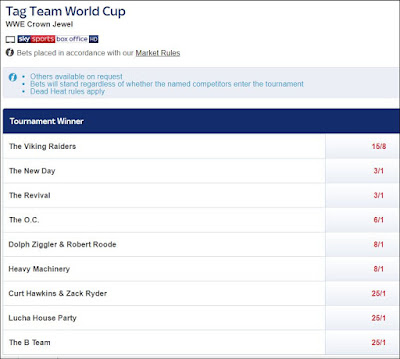 WWE Tag Team World Cup Betting Odds From Sky Bet