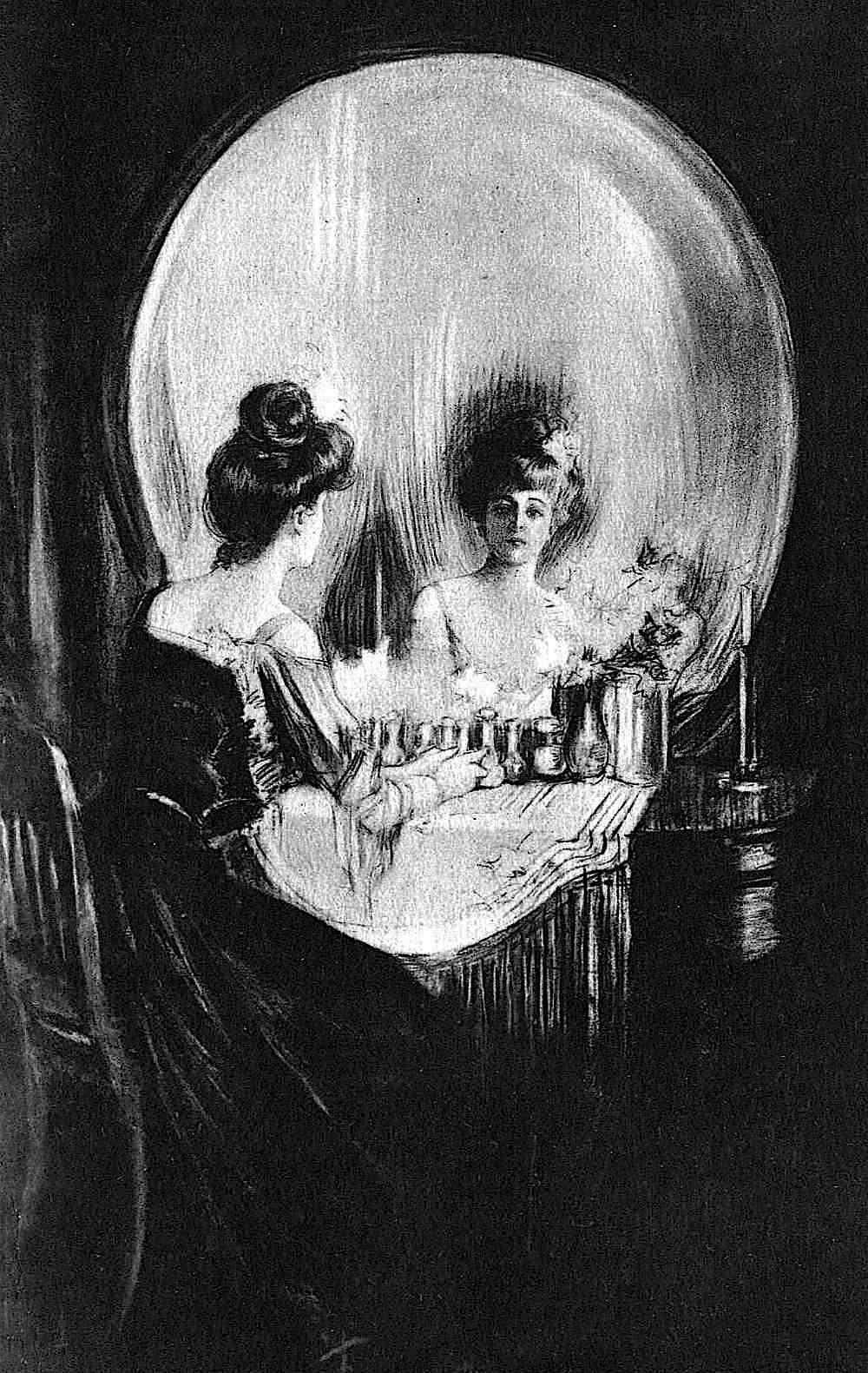 the Alfred Schweizer skull mirror art