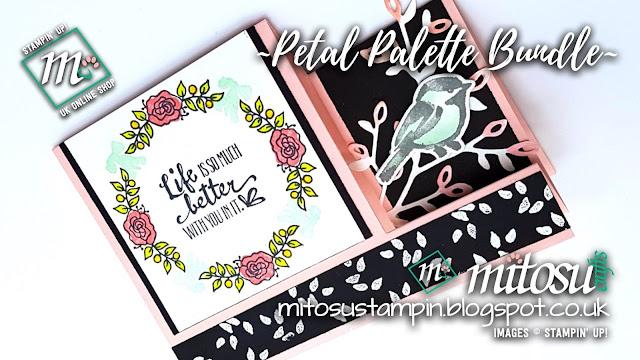 Stampin' Up! Petal Palette & Lots of Lavender SU Side Stepper Card Idea order craft products from Mitosu Crafts UK Online Shop