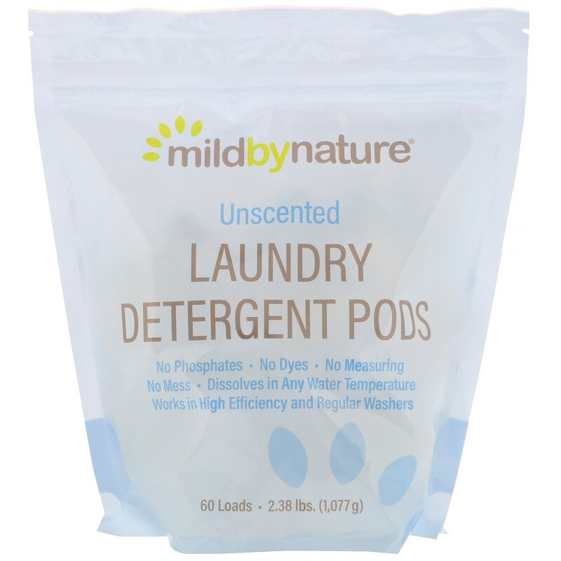 Mild By Nature, Капсулы со стиральным порошком, без запаха, на 60 загрузок, 1077 г (2,38 унции)