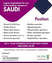 SAUDI JOBS : URGENTLY REQUIRED FOR A LEADING COMPANY IN SAUDI .g