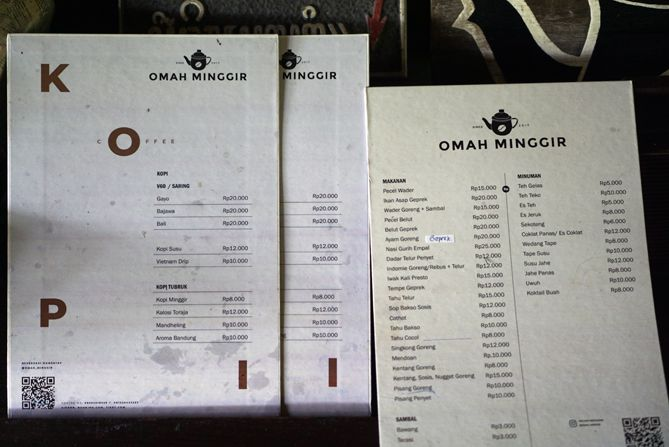 Daftar menu dan harga di Kedai Omah Minggir