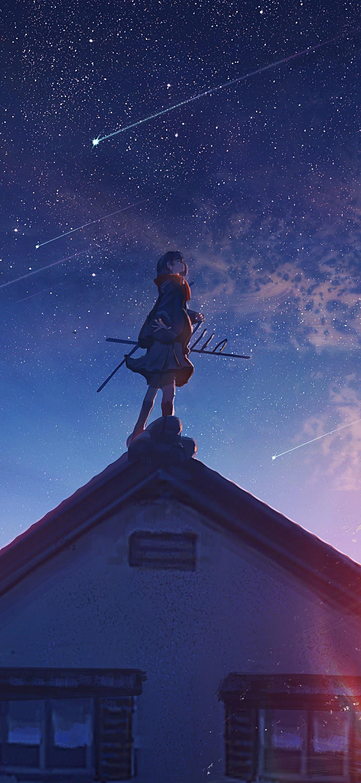 Anime Sunrise Comet Stars 4k Wallpaper 183