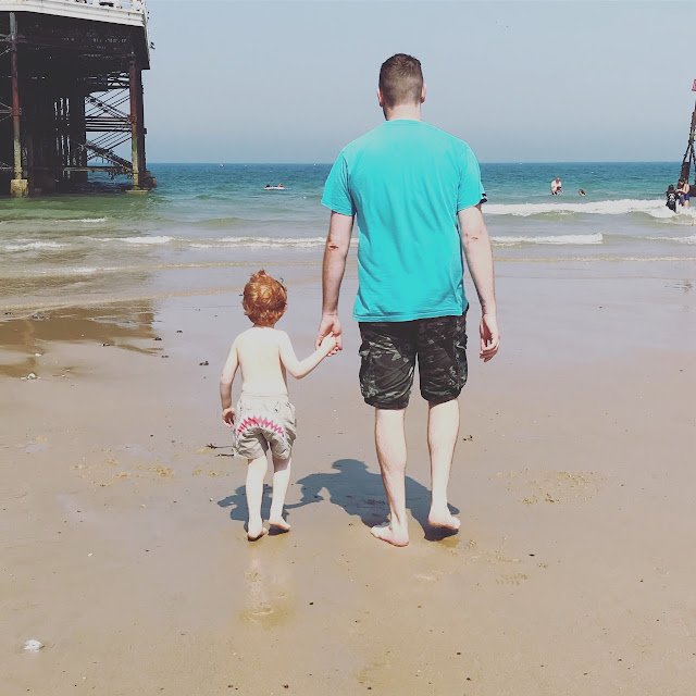Father and little boy holding hands on a beach and walking towards the water