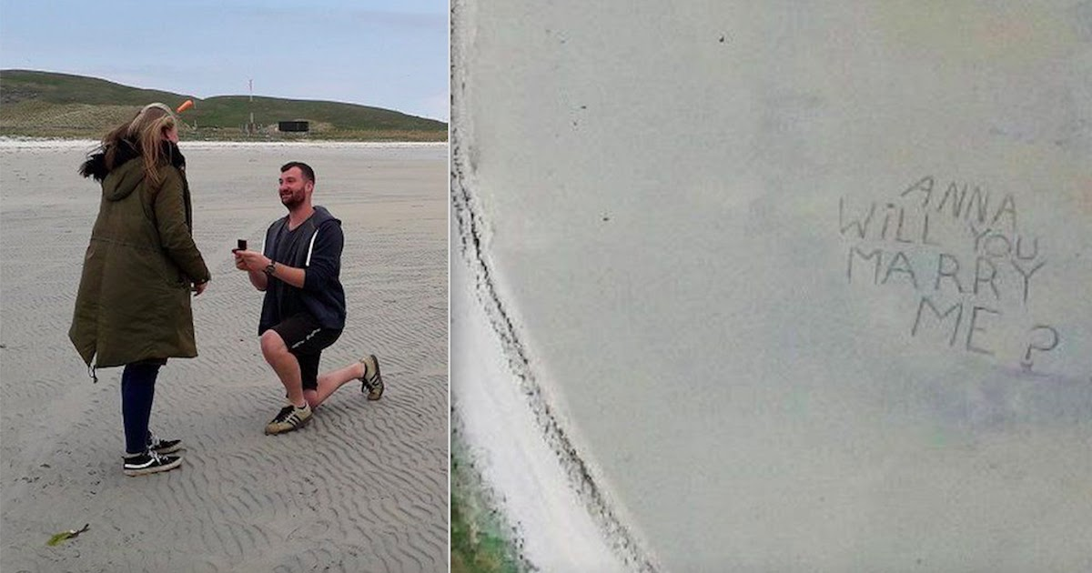 Man Surprises His Girlfriend With Marriage Proposal At Scenic Scottish Beach Airport