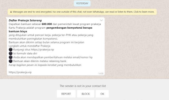 Penipuan Daftar Prakerja Lewat Pesan WA di situs Prakerja(dot)vip